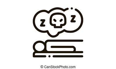 Dead Sleep Man Icon Animation. black Dead Sleep Man animated icon on white background