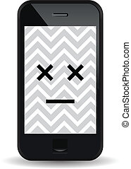 Vector illustration of a malfunctioned smartphone.