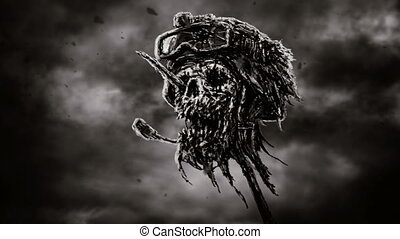 Dead soldier head in helmet on metal pin. Zombie war is...