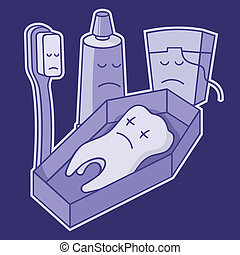 Dead tooth in coffin with toothbrush, toothpaste and dental...