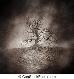 Dead Tree - Dead tree in a bleak, lonely, windswept...