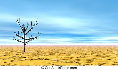 Dead tree alone in a yellow desert by beautiful day with blue sky a little cloudy.