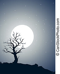 Dead tree shilouette and moon