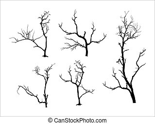 Dead Tree Silhouettes - Abstract Retro Spooky Halloween Dead...