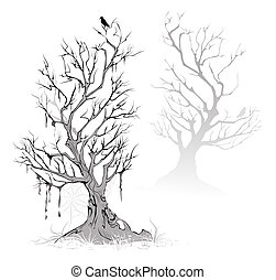 dead trees - Two artistic painted, dead, dried tree on a ...