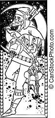 Dead vector illustration. Art Deco. Art Nouveau.