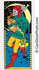 Dead vector illustration. Art Deco. Art Nouveau. - Skeleton,...
