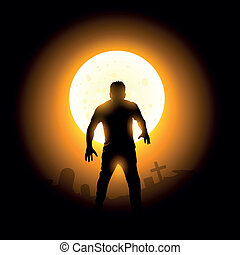 Halloween. A Zombie Rising from the ground.
