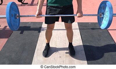 deadlift, fitness, -, homme, extérieur, ou, haltérophilie, gymnase, musculation, powerlifting