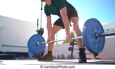 deadlift, fitness, -, homme, extérieur, ou, haltérophilie, ...