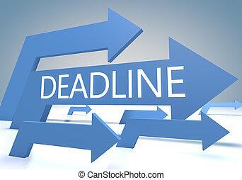 Deadline 3d render concept with blue arrows on a bluegrey background.