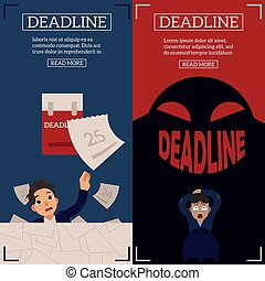 Deadline and time management banners set with overworked and scared businessman.