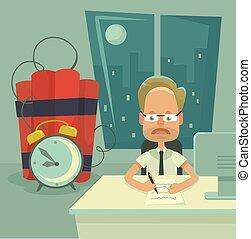 deadline., apartamento, vetorial, ilustração