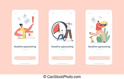 Deadline Approaching Mobile App Page Onboard Screen Template. Anxious Business Characters in Chaos Office Workplace. People Run with Documents and Alarm Clock Concept. Cartoon Vector Illustration