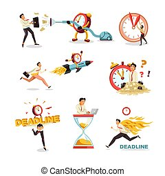 Deadline clock and hourglass businessman time delay isolated...
