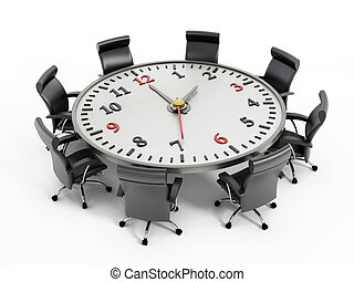 Deadline - Clock on the round meeting table isolated on ...