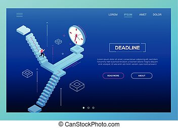 Deadline concept - modern isometric vector website header