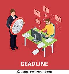 Deadline Concept of overworked man. Flat 3d vector isometric illustration.