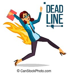 Deadline Concept Vector. Lack Of Time. Mess And Deadline Tasks. Stress In Office. Running Business Woman On Fire. Workers Hurry Up With Job. Illustration