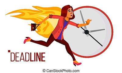 Deadline Concept Vector. Stressed Office People. Running Business Woman On Fire. Time Management. Struggling With Deadline. Overwork, Chaos In Office. Work. Illustration