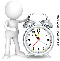 Deadline. - 3D little human character pointing at a Clock....