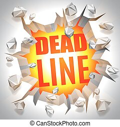 Deadline Event Concept - Red deadline word behind exploding...