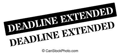 Deadline Extended black rubber stamp on white. Print,...