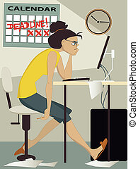 Deadline - Frustrated woman working on her computer at home,...