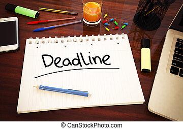 Deadline - handwritten text in a notebook on a desk - 3d...