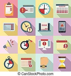 Deadline icons set, flat style