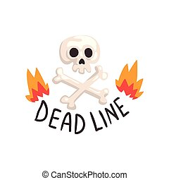 Deadline in fire flames, skull and crossbones, time management, productivity, efficiency, business concept vector Illustration on a white background
