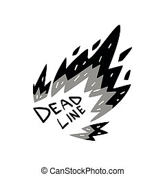 Deadline in fire,time management, limit, productivity, efficiency, business concept vector Illustration on a white background