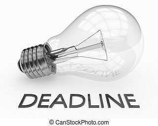 Deadline - lightbulb on white background with text under it....