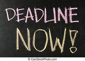 deadline, nu, geschreven, op, een, bord