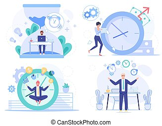 Deadline procrastination. Office people worker character at workplace set. Employee hurry up to do necessary task, meditate, keep calm. Countdown huge alarm clock timer. Time management