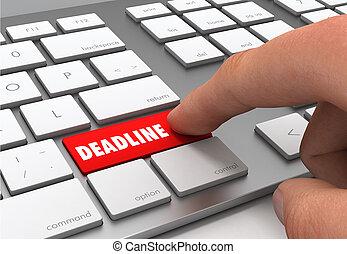 deadline push button concept 3d illustration