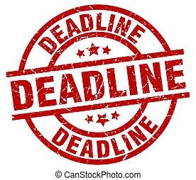 deadline round red grunge stamp