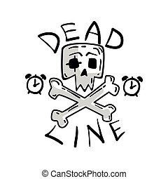 Deadline, skull and crossbones, time management, productivity, efficiency, business concept vector Illustration on a white background