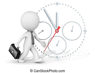 Deadline. - The dude 3D character businessman rushing. Clock...