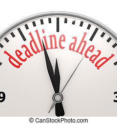 deadline, vooruit, klok