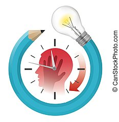 Deadline, waiting for an idea,  stressed out man with watch .  Stylized male head silhouette holding his head, with watch and pencil with bulb. Vector available.