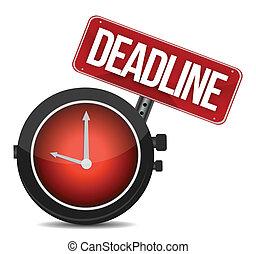 deadline watch sign illustration design over white