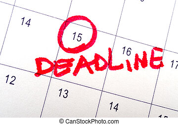 Deadline word written on the calendar