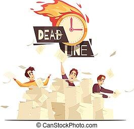 Deadline Workload Pressure Cartoon Illustration - Business...