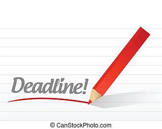 deadline written on a white paper illustration