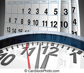 Deadlines and schedules of events and important dates represented by a calendar and a clock showing the concept of appointments and time management.
