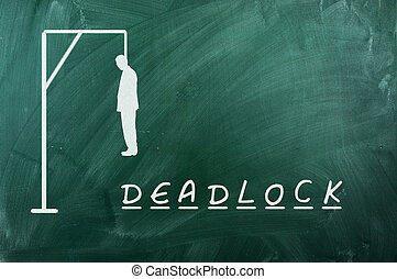 deadlock - Hangman game on green chalkboard ,concept of...