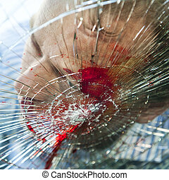 Deadly accident - Pedestrian hit by a car, with blood on the...