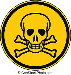 Deadly danger sign on white background.