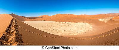 deadvlei, dunas, panorámico, arena, namibia, vista,...